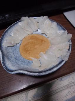 カワハギ刺身、肝醤油_01