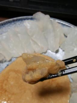 カワハギ刺身、肝醤油_02